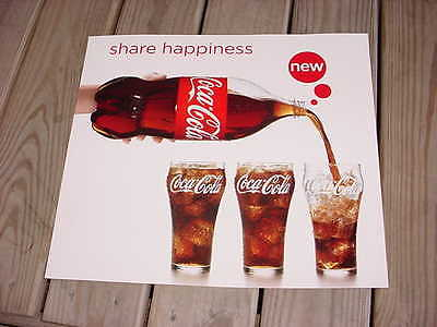 """Coca-Cola Cardboard Poster Sign """"Share + Happiness"""" 16"""" by 18"""" Retro Coke Ad"""