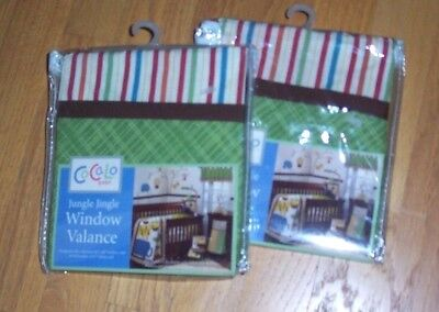 Lot 2 NEW COCALO JUNGLE JINGLE VALANCES Multicolor TAB TOP, NIB
