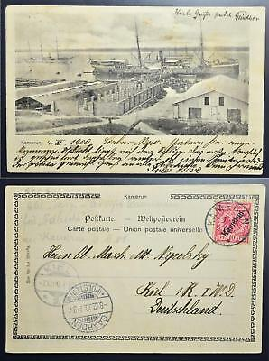 GERMANY Colony Kamerun/Cameroon 1900 Prov on Harbour/Ship Pic PPC to Deutschland