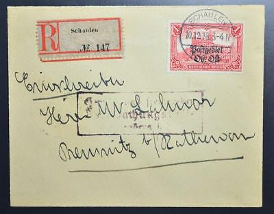 GERMANY in occupied LITHUANIA 1918 Prov on RARE R-Cover SCHAULEN to..., Lietuva