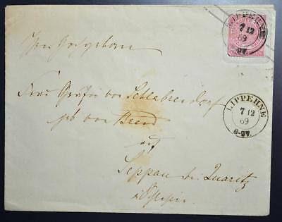 GERMANY Poland/Prussia 1869 NDP State Stat Cover LIPPEHNE to Gräfin/Countess to
