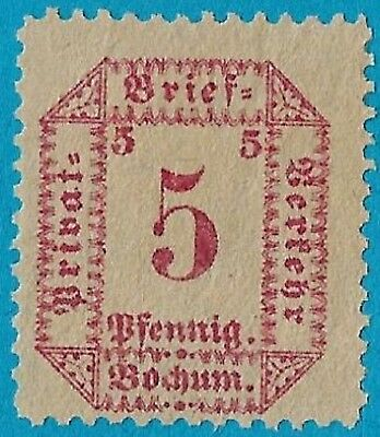 + 1887 Bochum NRW German States 5pf Local Private Post MNG unused