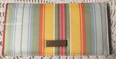 Longaberger Sunflower Stripe Checkbook Cover w/ Picture Credit Card Sleeve New