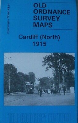 Old Ordnance Survey Detailed  Maps Cardiff  North Glamorgan 1915 Godfrey Edition