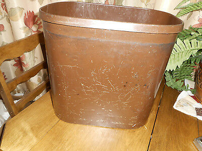 "Vintage Globe Wernicke Metal Trash Can Industrial Steampunk Brown 12-1/2"" Tall"