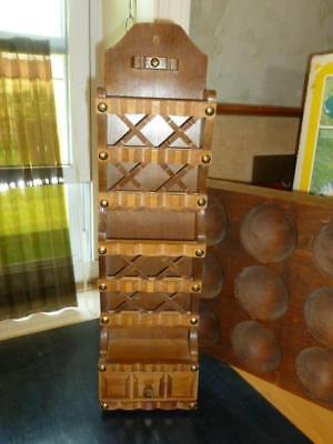 Vintage Mid Century Gothic Wood Lattice Grommet Wall Table Letter Holder Drawer