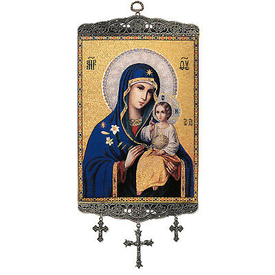"""Madonna and Child Virgin Mary Eternal Bloom Tapestry Icon Banner 18"""" Gift"""