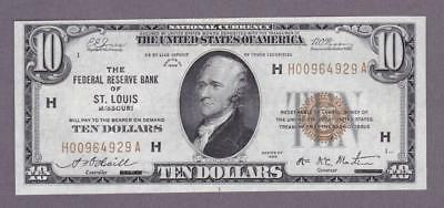 $10 1929 BEAUTIFUL BETTER ST. LOUIS Federal Reserve Bank Note!     x2a