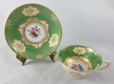Vtg CROWN STAFFORDSHIRE England GREEN & GOLD with FLORALS Cup & Saucer #A13460