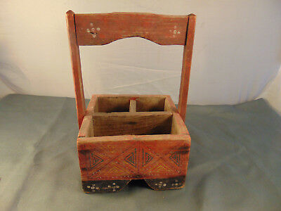 Painted Folk art vintage rustic wood box handle 3 compartments red black crafts