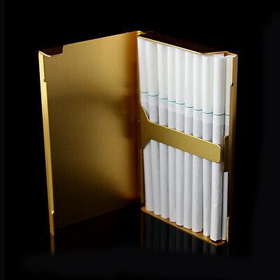 Elegant Thin Slim Aluminum Wiredrawing 20 Cigarette Case Box Holder Gold ss