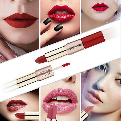 1pcs 12 Colors Matte Waterproof 2 in 1 Lipstick Lip Gloss Makeup Cosmetic
