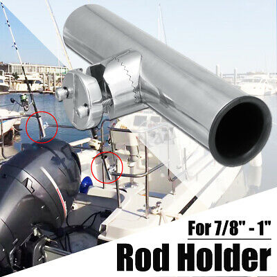 Adjustable Stainless Steel Fishing Rod Holder Clamp-on Rail Mount 7/8'' to 1''