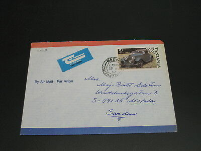 Tanzania 1986 airmail cover to Sweden car automobile *9159