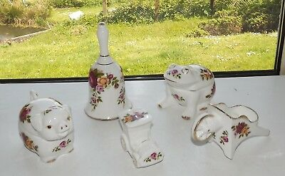 Staffordshire Cottage Rose Fine Bone China 5 x Pieces Frog Pig Bell Car Barrow