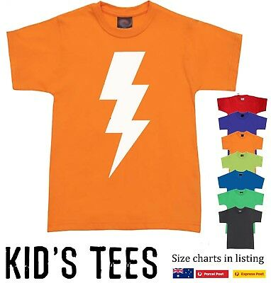 Lightening bolt T-Shirt Kids Children's Funky retro tee size Funny cool t shirts