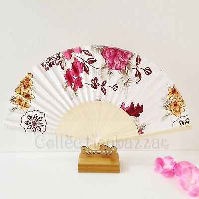 Chinese Bamboo Folding Silk Floral HAND FAN for Wedding Party Gift E