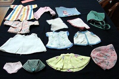 EARLY VINTAGE LOT DOLL CLOTHES some tiny tear and smaller size BONNETS SLIP &