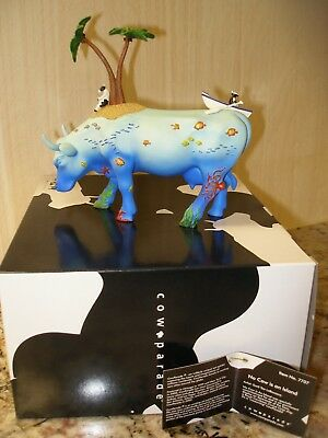 Cow Parade Figurine~NO COW IS AN ISLAND~Style #7707~Box & Tag~Slight Damage~READ