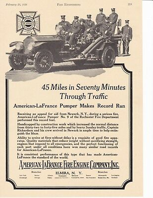 AMERICAN LaFRANCE PUMPER MAKES RECORD CALL 1926 AD                 7052