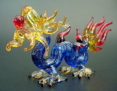 Glass DRAGON, SERPENT Blue Orange & Red Decorative Glass Ornament Glass Animal
