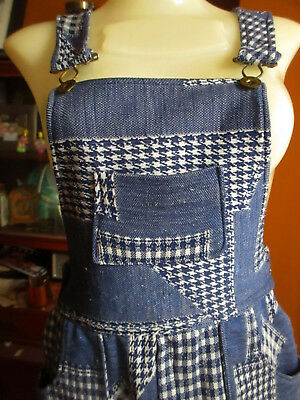26x28 sz 4 True Vtg 70s WOMENS FLARE PATCH HIPPY JUMPER STRETCH KNIT OVERALLS