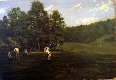VINTAGE OIL GOLF PAINTING PRINT CANVAS RICH CLASSIC Ready to Hang