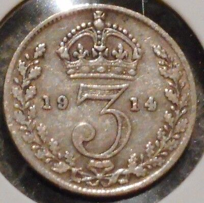 British Silver Threepence - 1914 - King George V - $1 Unlimited Ship