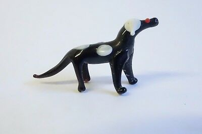 Vintage Art Glass DOG Black & White Miniature Figurine ESTATE COLLECTION