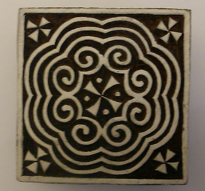 Square Shaped 7.5 cm Indian Hand Carved Wooden Printing Block Stamp (SQ10)