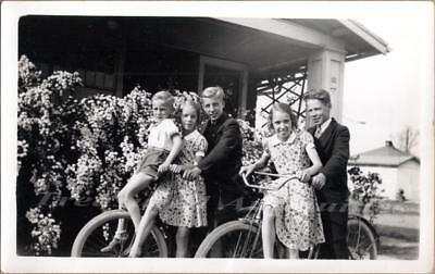 1930s Young Boys Girls Wear Sunday Best Western Flyer Balloon Tire Bicycle Photo