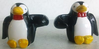 """Pair of Adorable Ceramic Penguin Candle Huggers, Climbers, 2"""" Tall"""