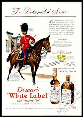 1942 Coldstream Guards soldier on horse Dewar's Scotch whisky vintage print ad