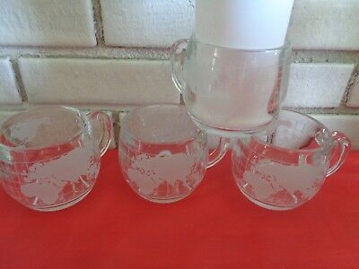 4 Nestle World Map coffee mugs cups frosted continents on clear glass vintage