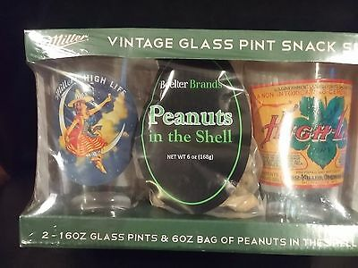 Miller Beer Vintage Glass Pint Gift Snack Set 2 -16 oz Glass Pints 6 oz Peanuts