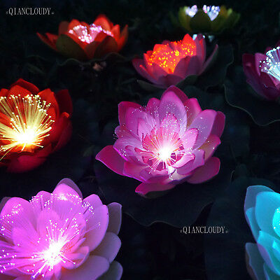 Set of 5 Hot Pink Artificial Lotus lily flowers pond floating optic fibres D31