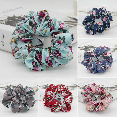 Retro Floral Cotton Cloth Flower Hair Ties Women Vintage Hair Ring Accessories