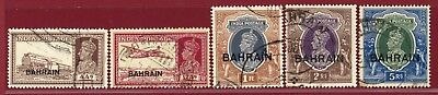 Bahrain 1938-41 #28/34(5), Ovpt on India Stamps, Used, SCV $187.50