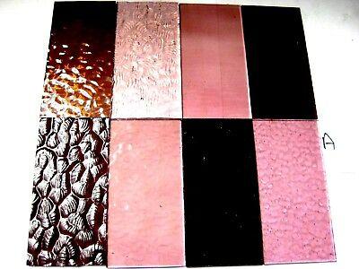 8 PINK Stained Glass Hobby Sheets 100mm x 50mm x 3m  Quality Craft Items LOT A