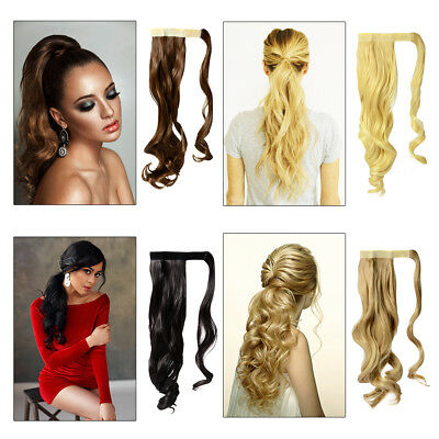 Ponytail Hair Extensions Magic Tape Wrap Around Long Curly Wavy Thick Hairpiece