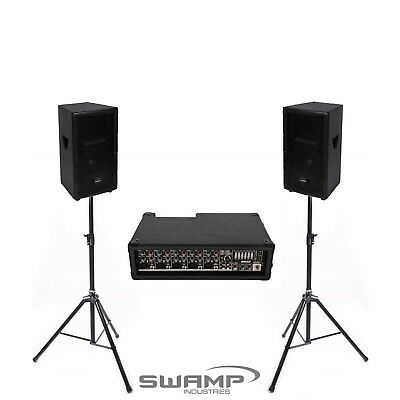 """Live Performance PA Package - Powered Mixer + Twin 10"""" Speakers + Stands + Leads"""