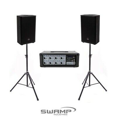 "Live Performance PA Package - Powered Mixer + Twin 12"" Speakers + Stands + Leads"