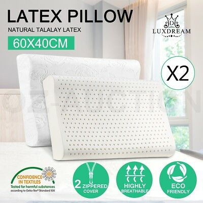 2x Natural Latex Pillow Bed Sleeping Contour Foam Neck Support Cover 60x40cm