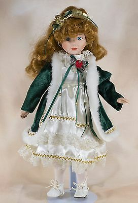 "Collector's Porcelain Girl Doll 16"" Red Hair Blue Eyes"