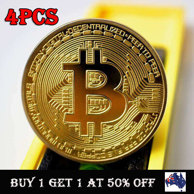 4PCS Gold Bitcoin Commemorative Round Collectors Coin Bit Coin Gold Plated Coin
