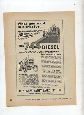 Massey Harris Tractor Advertisement removed from 1951 Farming Magazine