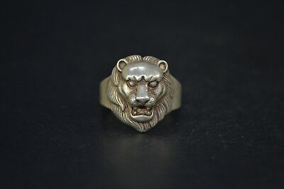Vintage Collectible handwork Old Tibet Silver carve leo chinese totem Ring