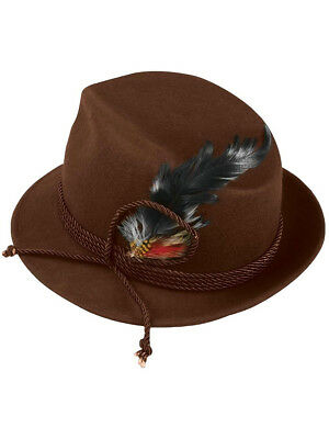 Mens Brown German Bavarian Oktoberfest Hat With Feather