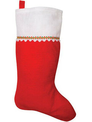 "16"" Classic Red Felt Festive Christmas Stocking Costume Accessory"