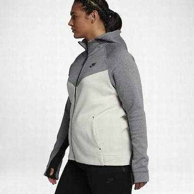 3ad1e1d77e4d Nike 2XL Women s TECH Fleece Full-Zip Hoodie NEW  120 863125 093 Grey Bone  Black